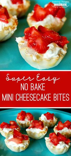 Quick and Easy- these no bake mini cheesecake bites are delicious! (bonus: each little bite is about 45 calories each!)