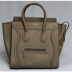 This is an authentic CELINE Pebbled Leather Mini Luggage in Lune ...