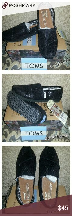 TOMS Classics Black Glitter One To One Shoes TOMS Classics Black Glitter One To One Shoes  * Color Black * Pattern Glitter * One To One Shoes * Size 13.5 Youth * Toms sticker included TOMS Shoes