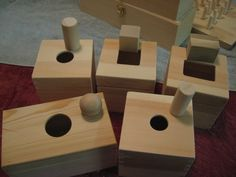 Homemade Montessori. Geometric shape insert boxes. Made by Summer