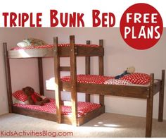 Triple bunk bed for a long and narrow room. Add better guard rails and storage pockets on the wall.