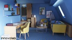 #blueandyellow #interiordesign Corner Desk, Conference Room, Interior Design, Table, Furniture, Home Decor, Corner Table, Nest Design, Decoration Home