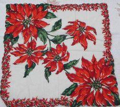 Vintage Poinsettia Christmas Handkerchief FREE by VintageShop, $12.50