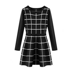 Elastic-waist Checked Pullover Knitted Dress (245 DKK) ❤ liked on Polyvore featuring dresses, vestidos, elastic waist dress, checkered dress and checked dress