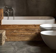 Inspiration : 10 Stunning Modern Bathroom Design Ideas fun pops of color black and rustic bathroom Bathroom Wood & Grey bathroom sink Wood Bathroom, Bathroom Renos, Bathroom Interior, Bathroom Ideas, Wood Tub, Wood Bathtub, Tile Wood, Natural Bathroom, Bathroom Plumbing