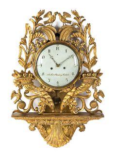 A Swedish Giltwood Cartel Clock Height 35 inches. Antique Wall Clocks, Old Clocks, Vintage Clocks, Wall Clock Brands, Wall Clock Online, Wall Clock Luxury, Classic Clocks, Carriage Clocks, Wall Clock Design