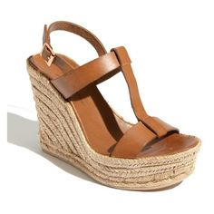 "Delman 'Trish' Sandal , 4 1/4"" heel (73.780 CLP) ❤ liked on Polyvore featuring shoes, sandals, high heel wedge sandals, wedge heel sandals, leather platform sandals, t strap sandals and woven wedge sandals"