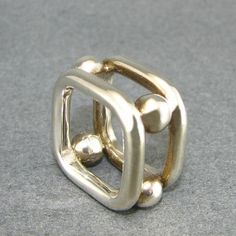 SQUARES & SPHERES Sterling Silver Geometric Ring by UngarMetalArt, $210.00