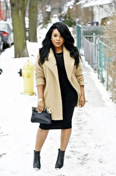 Black dress and camel jacket, ankle boots, street style, black girl stylin'.