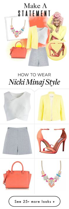 """""""Statement necklace 2"""" by anclark747 on Polyvore featuring Nicki Minaj, Chicwish, Michael Kors, Steve Madden, Damsel in a Dress and statementnecklaces"""