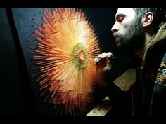 String Art HOLY GLORY Mandala Making of. primed, painted and varnished canvas on plywood; string art on blacklight Mandala Making, Wind Drawing, String Wall Art, Cross Stitch Art, Abstract Wall Art, Sacred Geometry, Deco, Diy Art, Holi