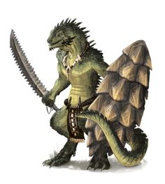 Male Lizardman Fighter - Pathfinder PFRPG DND D&D d20 fantasy