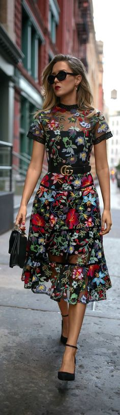 Trend Memo Day 6: Fall Florals // Floral embroidered midi dress, leather waist belt, ankle strap pumps, mini shoulder bag, cat eye sunglasses, pearl drop earrings {Anthropologie, Gucci, Sam Edelman, Marc Jacobs} #mididress