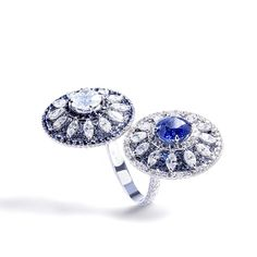 Fancy White Diamond & Burmese Sapphire Shield Ring - Forms Jewellery