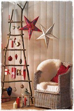 navidad decoracion con escaleras de madera