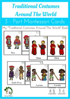 Traditional Costumes Around The World - Montessori Cards - read more about it in the post. Montessori Printable Activities for preschool children Montessori Classroom, Montessori Activities, Preschool Activities, Montessori Elementary, Preschool Learning, Infant Activities, Early Learning, Around The World Theme, Costumes Around The World