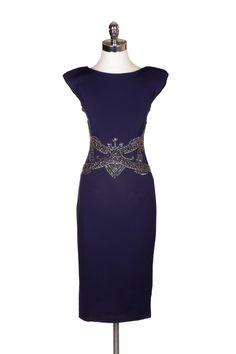 """""""Francise"""" Sleeveless Embellished Waist V Back Bodycon Dress"""