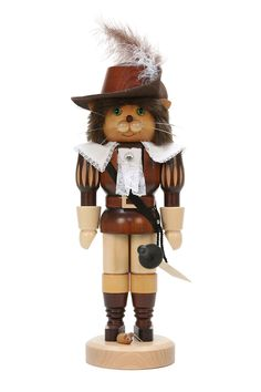 Nutcracker Puss in Boots natural wood - 37,5cm / 15 inch