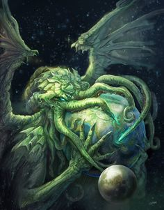 """It's well known that the great Cthulhu has a particular bond with artists of all sorts. Lovecraft's """"The Call of Cthulhu"""" it's docu. Hp Lovecraft, Lovecraft Cthulhu, Call Of Cthulhu, Art Cthulhu, Cthulhu Tattoo, Dark Fantasy, O Kraken, Necronomicon Lovecraft, Yog Sothoth"""