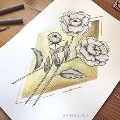 floral watercolor painting with gold ink ♡ ( Floral Watercolor, Watercolor Paintings, Black And White Painting, Gold Ink, White Ink, My Drawings, Inspiration, Instagram, Art