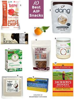 Diet Snacks The 10 Best AIP Snacks that make on-the-go eating and traveling easier. All are Autoimmune Protocol and paleo approved. - The 10 Best AIP Snacks that make on-the-go eating and traveling easier. All are Autoimmune Protocol and paleo approved. Autoimmun Paleo, Paleo Snack, Paleo Recipes, Real Food Recipes, Paleo Breakfast, Paleo Dinner, Paleo Food, Breakfast Frittata, Paleo Pizza
