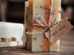 BEER SOAP with wooden soap dish Gift Set Made In door leboxboutique, $12.65