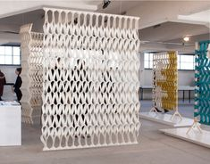 Petra Vonk creates acoustic Plectere curtains from felt - Dr Wong - Emporium of Tings. Acoustic Wall, Acoustic Panels, Interior Design Elements, Modern Interior, Space Dividers, Textiles, Office Interiors, Wall Design, Divider Design
