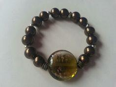 Murano glass and pearl bead bracelet