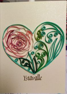 Valentine's day card, heart of Rose by quilling Quilling Cards, Watercolor Tattoo, Valentines Day, Tattoos, Rose, Heart, Valentine's Day Diy, Tatuajes, Pink