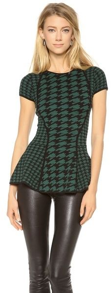 Torn By Ronny Kobo Vivienne Peplum Top - women's fashion / clothing / green apparel