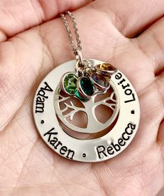 Hand Stamped Necklace, Metal Stamping, Washer Necklace, Jewelry, Jewlery, Jewerly, Metal Embossing, Schmuck, Jewels