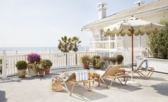 The Pacific Terrace at Luxury hotel Shutters on the Beach - Santa Monica, California.
