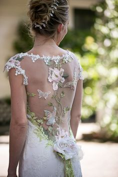 Flower embroidered illusion back wedding dress: http://www.stylemepretty.com/2017/01/10/one-bride-four-gowns/ Photography: Arrowood - http://arrowoodphotography.com/