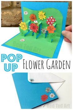 Pop up Flower Garden card! An adorable craft for older kids this spring!