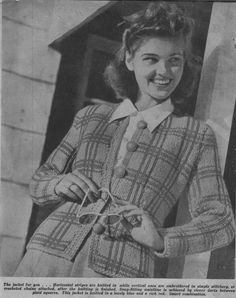 Knitting Pattern, Knitted Jacket Pattern, Plaid, , Bust 32 / 34 in, Instant Download, PDF pattern, VINTAGE KNITTING, 1940s by McPhersonStVintage on Etsy