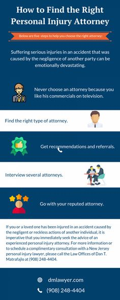 If someone is suffering from serious injuries in an accident and you need to hire an attorney, choose these steps to select an accident lawyers in Elizabeth NJ. Get a free consultation at (908) 378-8468