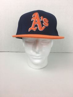 the latest 069d3 f14ba Oakland A s New Era 5950 7 1 2 Fitted Cap Hat MLB Blue and Orange