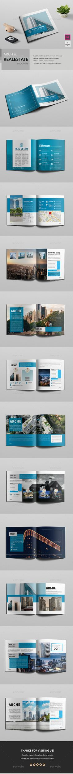 Square Realestate / Architecture Brochure Template InDesign INDD