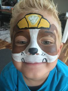 Rubble Face Painting Halloween Kids, Face Painting For Boys, Christmas Face Painting, Face Painting Designs, Rubble Paw Patrol, Paw Patrol Party, Paw Patrol Birthday, Face Painting Unicorn, Body Painting