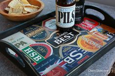 Calling all beer lovers! This DIY beer coaster tray has your name written all over it! Your coaster collection and Mod Podge spell 'happy hour' for sure. Beer Crafts, Bottle Crafts, Craft Beer, Redneck Crafts, Tapas, Sous Bock, Coaster Crafts, Coaster Art, Bar Coasters