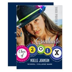 Custom Photo Graduation BBQ Party Invitations. Announce your Graduate with this modern and fun colorful design Custom Photo Graduation Announcements / Graduation Party Invitations . A simple and fun design that features your graduate's photo on the front with all the party or announcement details on the back. Matching cards, postage stamps and other products available in the Graduation Category of the Mairin Studio store at zazzle.com