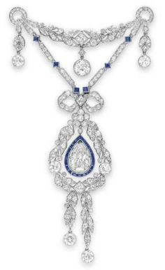Belle Epoque Diamond and Sapphire Brooch