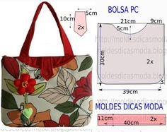 Bolsos y patrònes - Brake Tutorial and Ideas Handbag Patterns, Bag Patterns To Sew, Diy Bags Purses, Diy Handbag, Patchwork Bags, Denim Bag, Fabric Bags, Handmade Bags, Beautiful Bags