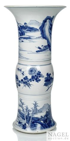 A blue and white vase, China, Kangxi period