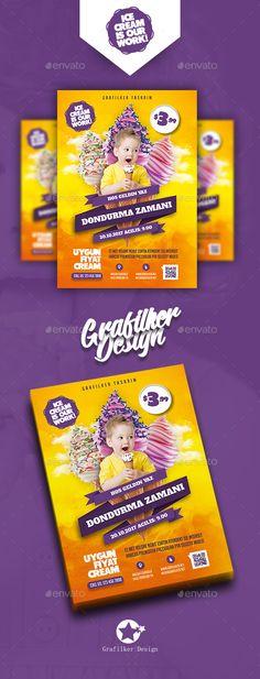 Ice Cream Flyer Templates by grafilker Ice Cream Flyer Templates Fully layeredINDDFully layeredPSD300 Dpi, CMYKIDML format openIndesign CS4 or laterCompletely editable,