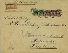 "German Southwest Africa, Forerunner 50 Pfg., three copies in mixed franking with issue 1897, twice 5 Pfg. green on beautiful foreign countries registered cover in the 7. weight step with stamp SWAKOPMUND 29 / 7 99 to Finland with routing indicator ""via St. Petersburg"". One of the most beautiful known mixed frankings from DSWA in very nice condition."