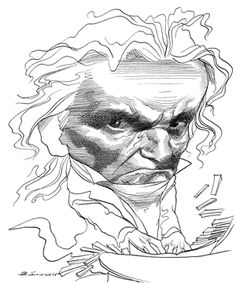 Ludwig van Beethoven by David Levine | The New York Review of Books
