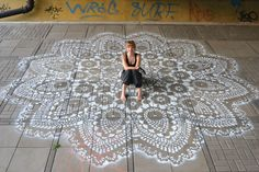 Polish Artist Covers City Streets In Intricate Lace Patterns NeSpoon is not your everyday street artist. Everything you associate with graffiti, just go ahead and disregard. NeSpoon's street art is all about the lady-like details Stencil Concrete, Paint Concrete, Concrete Patio, Concrete Stamping, Cement Pavers, Concrete Floors, Urbane Kunst, Urban Jewelry, Stenciled Floor
