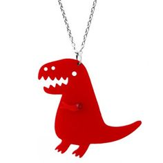 """Tyranno-friggin-saurus Necklace  by Claire Belton  $14.00  Dinosaurs ROCK - so obviously this is one super-cool necklace! The red smiling Tyrannosaurus Rex (with a moveable arm!!) is laser cut to perfection and hangs from a 18"""" silver toned chain."""