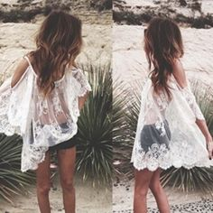 White lace cover up small Cute new white lace cover up Swim Coverups
